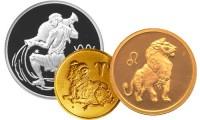 Золотые и серебряные монеты Знаки зодиака