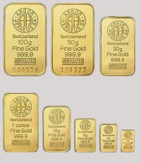 Мерные золотые слитки Швейцария