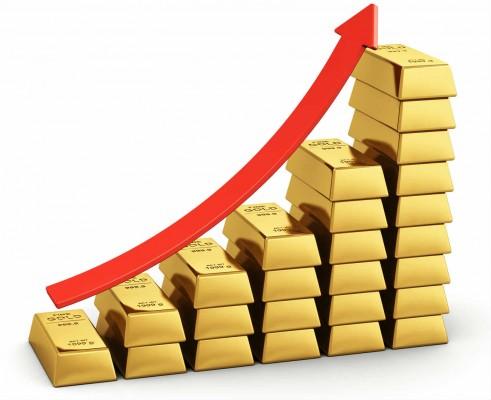 Стопки золотых слитков (по возрастанию) и красная стрелка, обозначающая рост