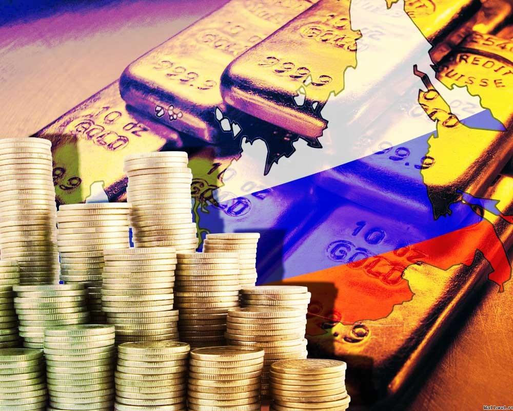 Золотые монеты, щолотые слитки, флаг России