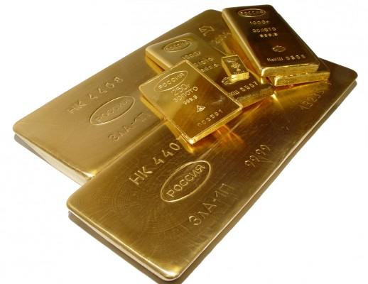Золотый слитки с российским клеймом