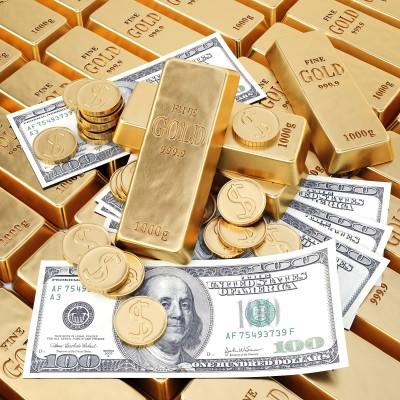Золотые монеты, слитки, доллары