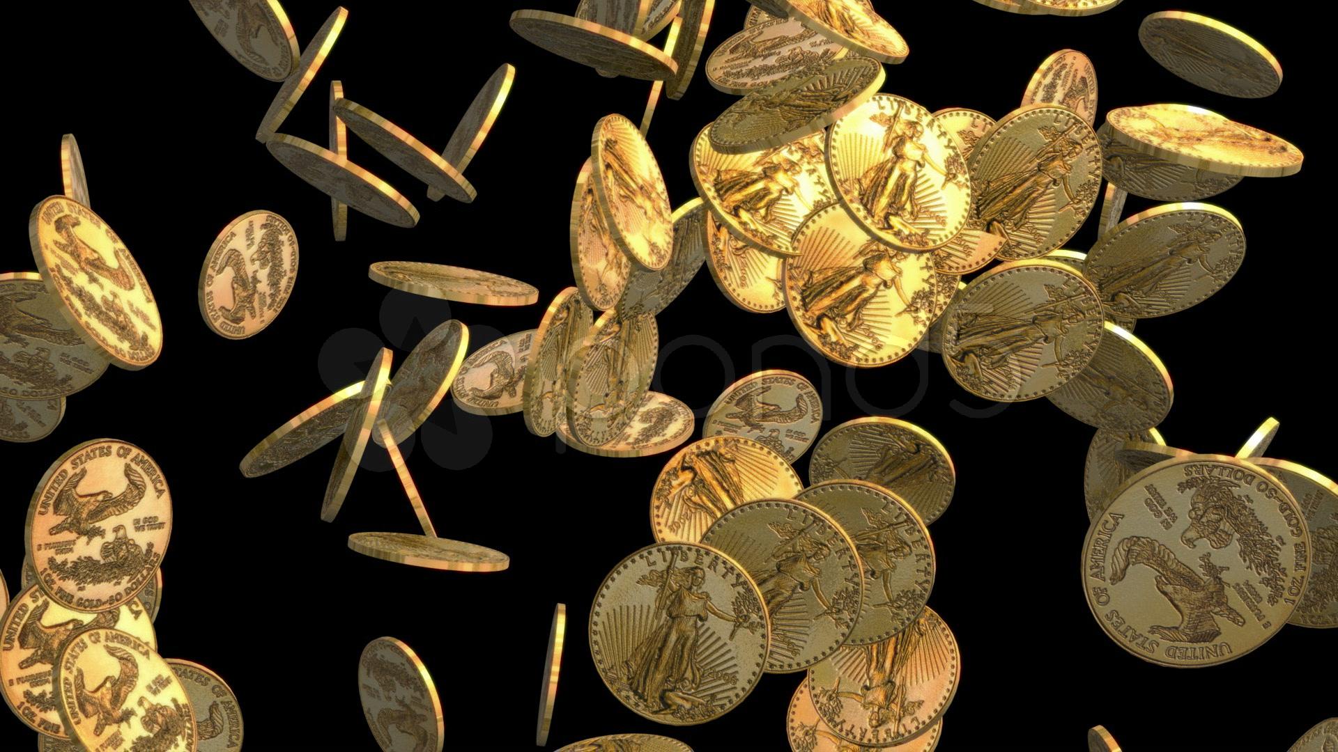 Падающие монеты на чёрном фоне, отражающие актуальные котировки