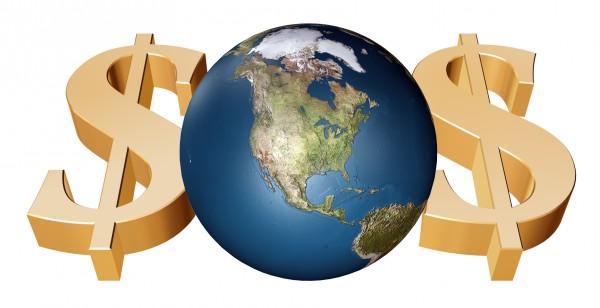 Планета, с двух сторон от которой золотые значки доллара на белом фоне