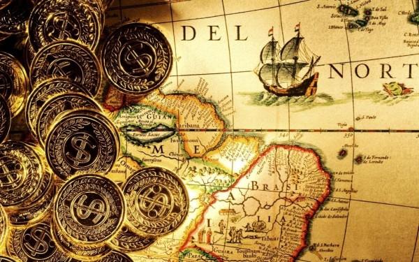 Золотые монеты и старая карта