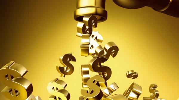 Золотые значки доллара США, вытекающие из золотого крана на золотом фоне