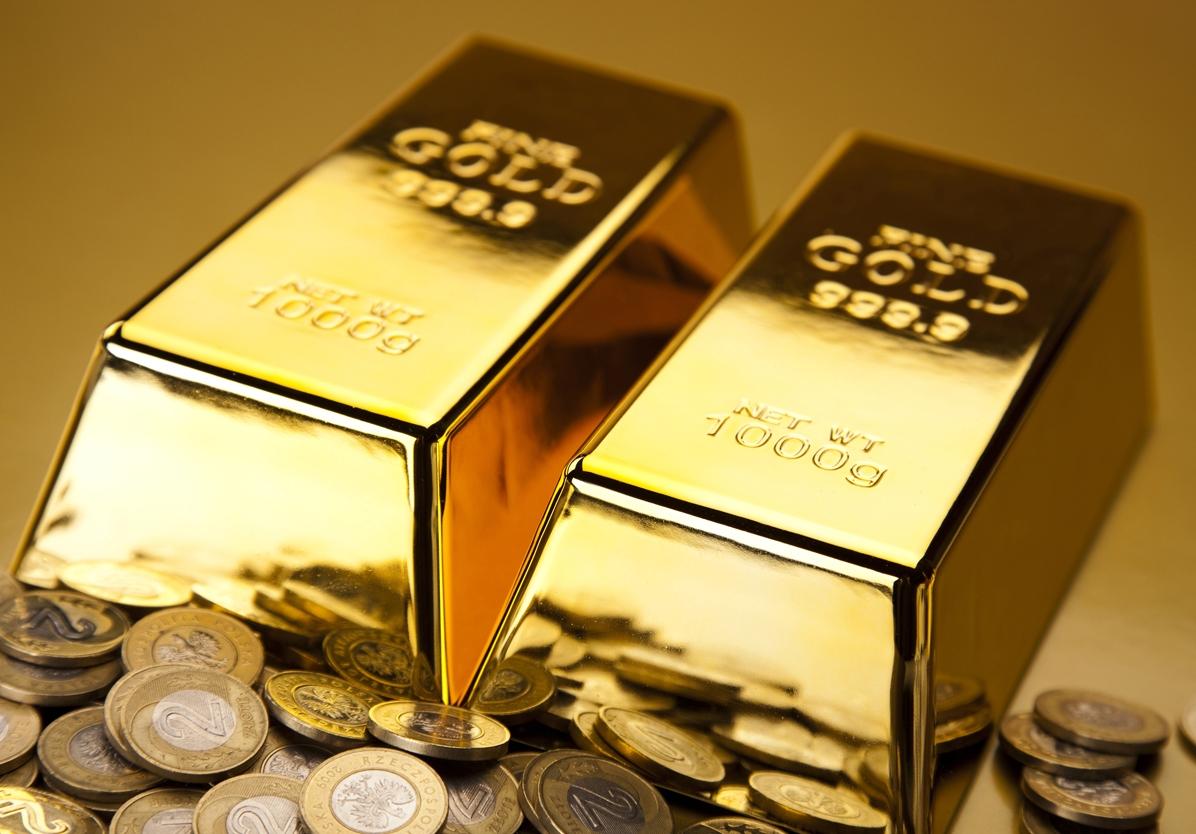 2 золотых слитка и золотые монеты