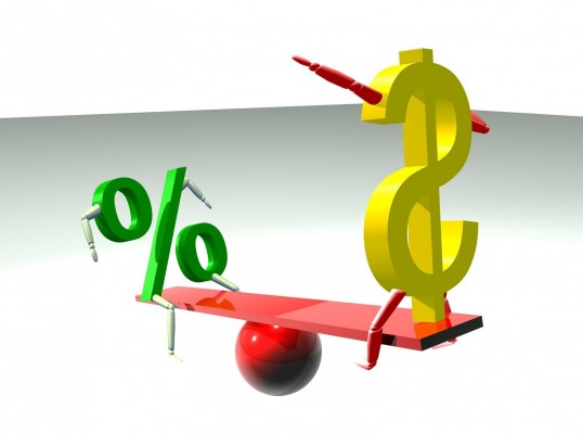 Весы со значками доллара и процента на чашах