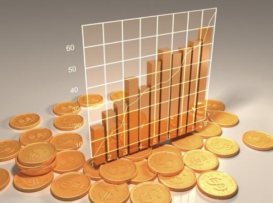 График из золотых монет на сером фоне