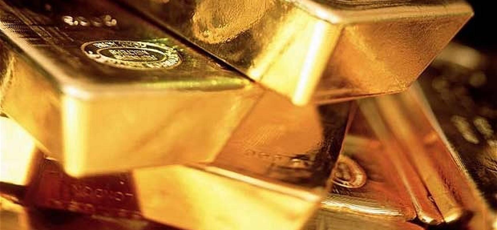 Золотые слитки крупным планом