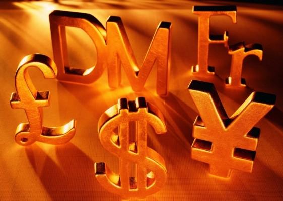 Знаки различных валют (золотые)