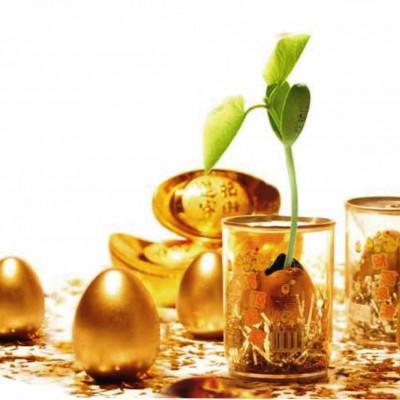 Росток, пробивающийся сквозь золото в стакане