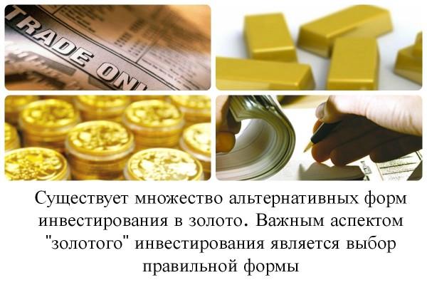 Коллаж о формах инвестирования в золото