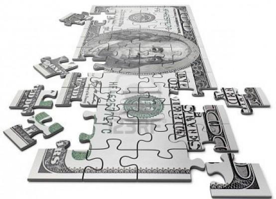 Пазл из купюры долларов США: рушащиеся котировки