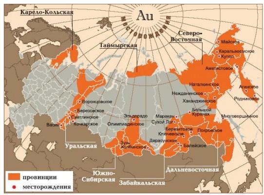 Карта российской золотодобычи