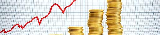 Цена на золото: график из стопок золотых монет