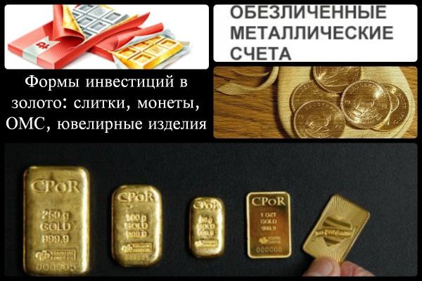 Коллаж о формах инвестиций в золото