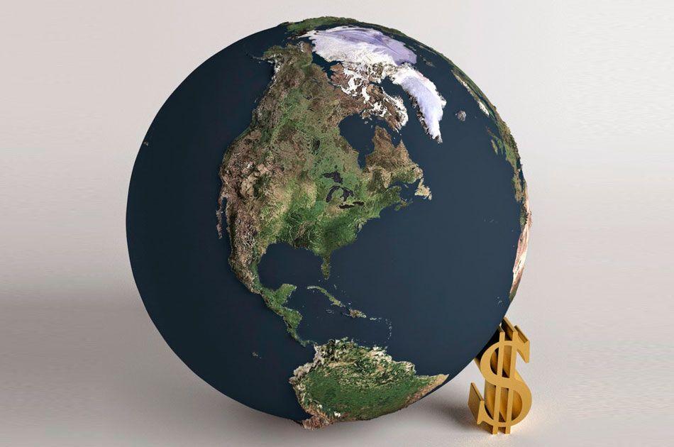 Планета+маленький золотой значок доллара США