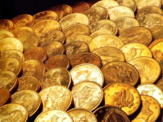 Ряды золотых монет