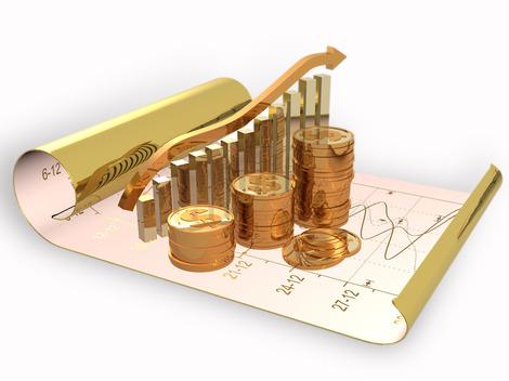 График из золотых монет на свёртке бумаги