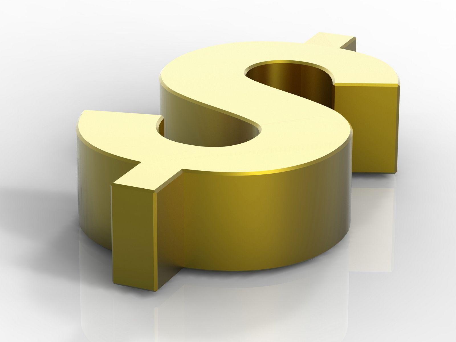 Золотой значок доллара на сером фоне в объёме