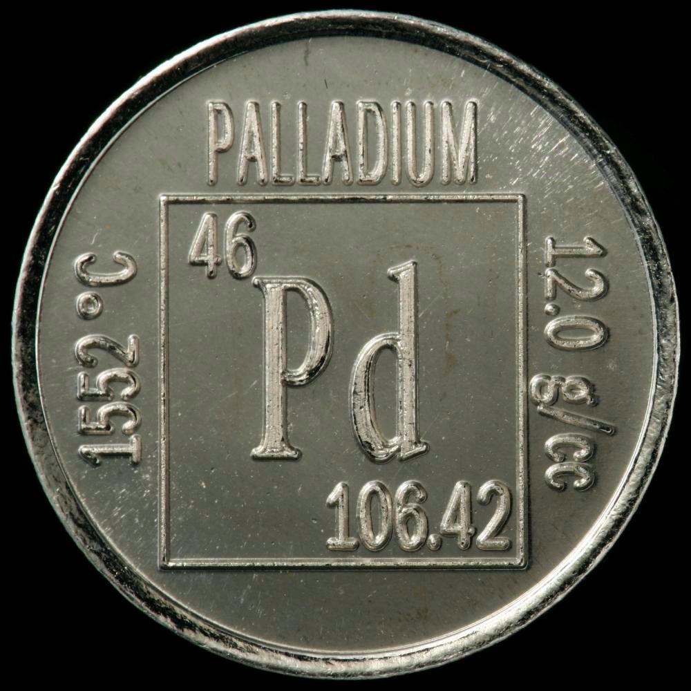 Монета с гравировкой надписи о палладии