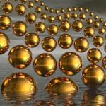 Золотые пузырьки на сером фоне