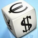 Игральная кость со знаками валют