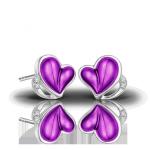 Серьги-гвоздики из пурпурного и белого золота