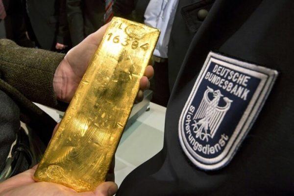 Золотой слиток и нашинка госбанка ФРГ