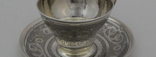 чашка и блюдце из серебра 84 пробы
