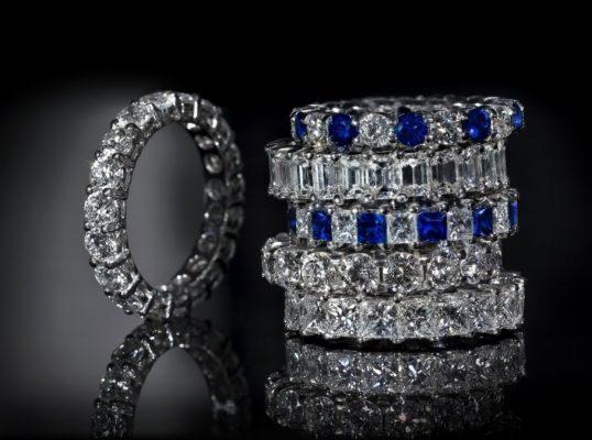 кольца из палладия с камнями
