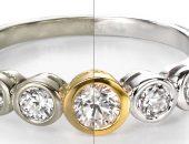 родированное кольцо с камнями