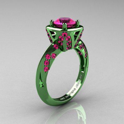 зеленое кольцо с бордовым камнем