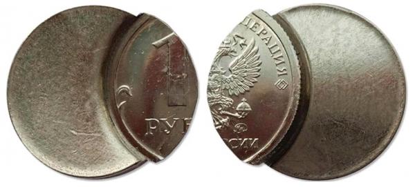 рубль со смещением заготовки