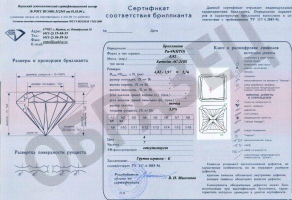 сертификат соответствия бриллианта