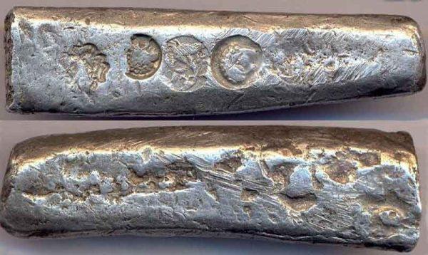 древние серебряные слитки