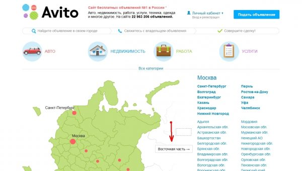сайт Avito