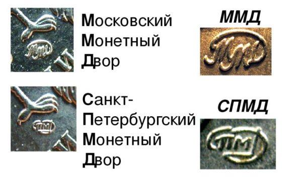 значки московского и санкт-птербургского монетных дворов