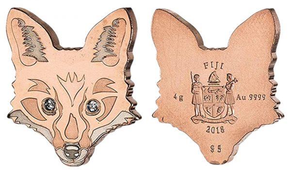 золотая монета Фиджи номиналом пять долларов в виде лисы