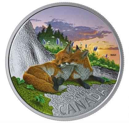 кандаские 20 долларов из серебра с изображением двух лис