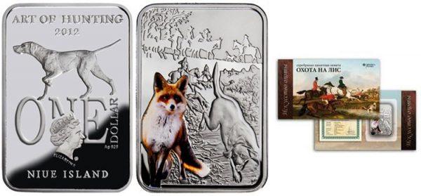 Ниуэ 1 доллар, 2012 год Искусство охоты Охота на лис