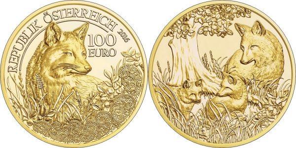 австрийская золотая монета с изображением лисицы
