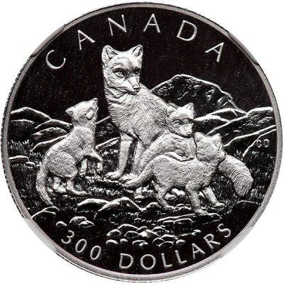 серебряная монета Канады с изображением лисы