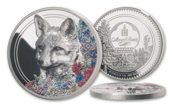 серебрянная монета Монголии с изображением лисы